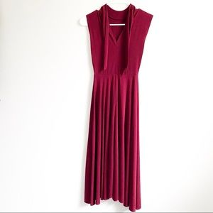 ZARA Burgundy Knot-tie Flowy Sleeveless MidiDress